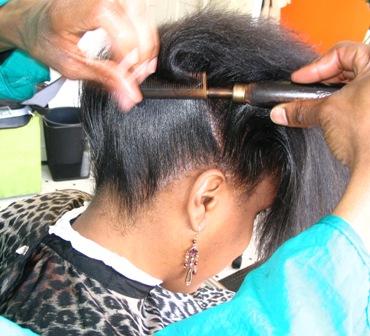 Hair Dresser Natural Hair Straighten